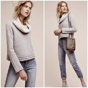 Anthropologie Boiled Wool Funnel Neck Sweater
